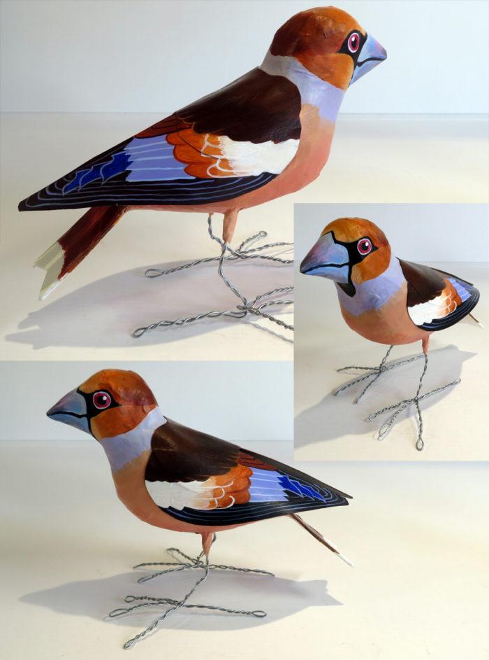 Paper mache hawfinch