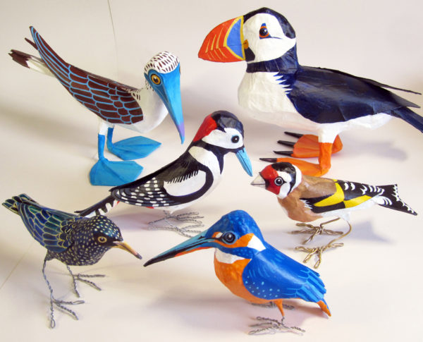 Paper mache birds by Jane Tomlinson