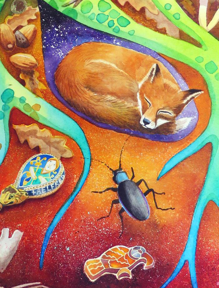 Buried Treasure - a fox sleeps in its earth among the roots of an oak tree