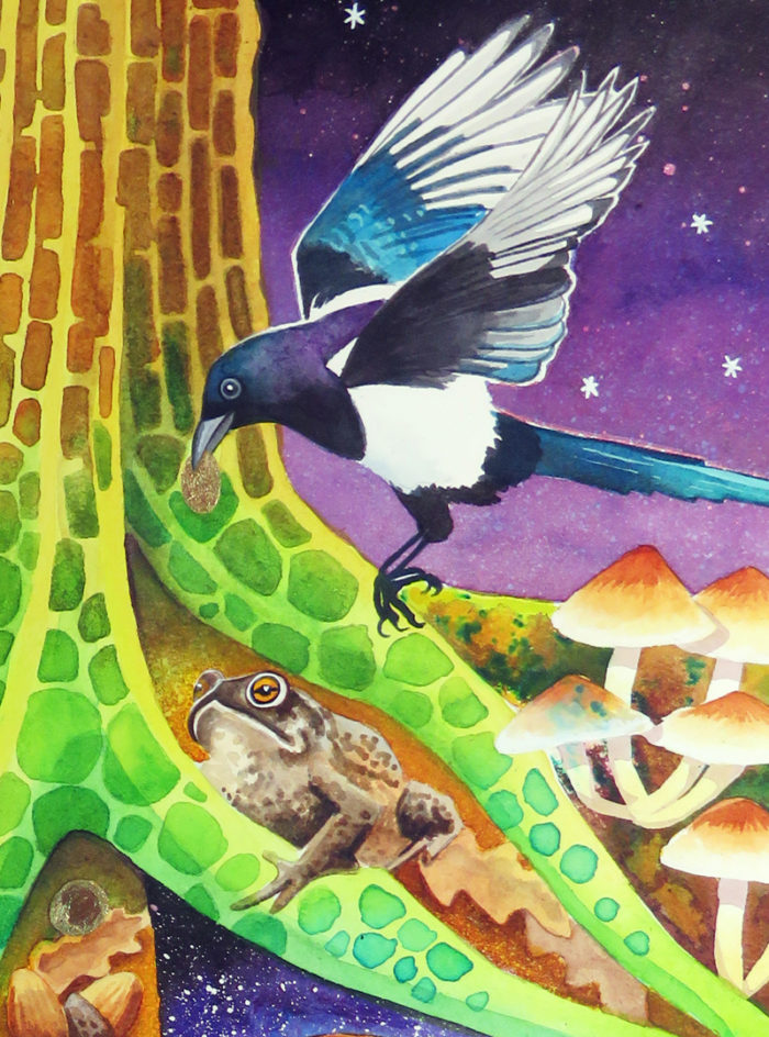 Buried Treasure - a magpie collects gold coins