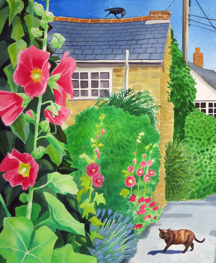 Hollyhocks on Queens Lane -detail