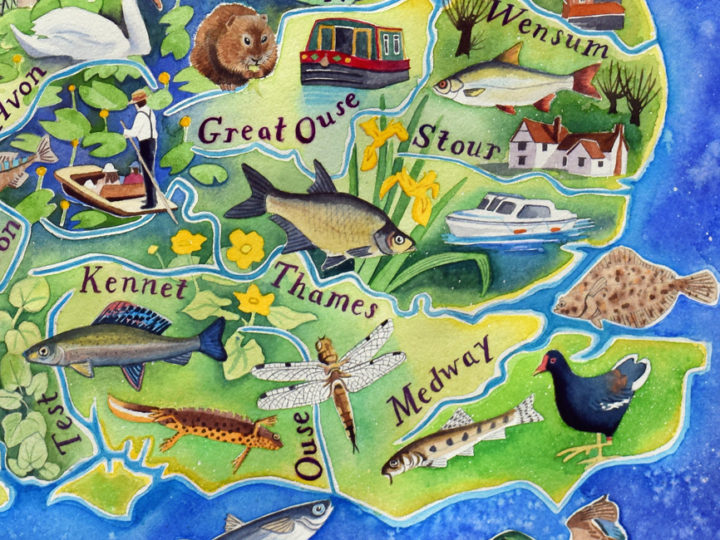 British Rivers painting – a fisherman's map