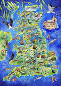 British rivers - a painted map by Jane Tomlinson