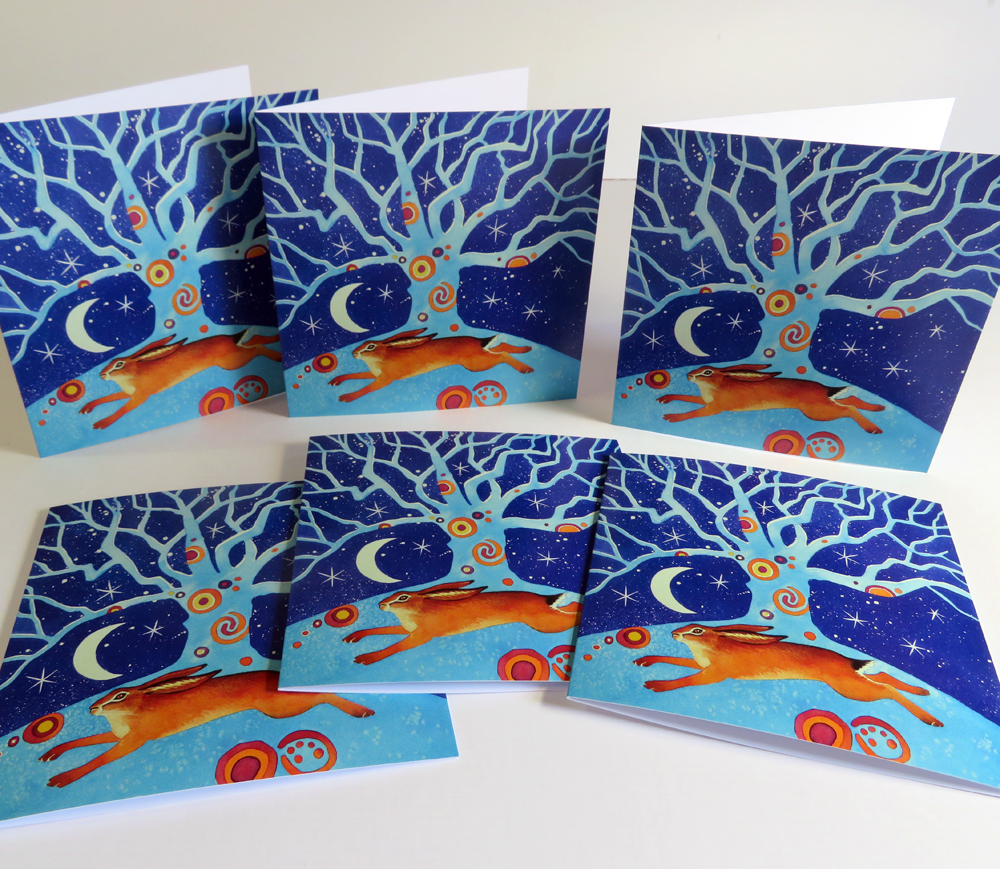 winter hare greetings cards