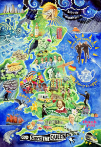 Best of British - a painting of 50 things to love about Britain