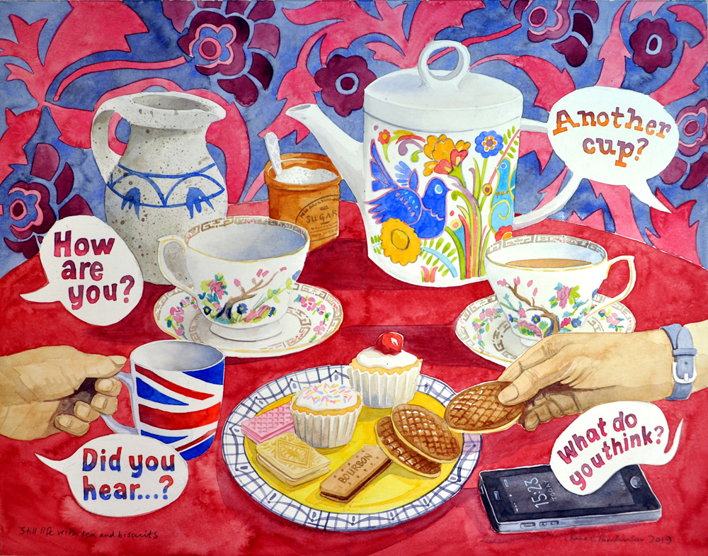 Still life with tea and biscuits