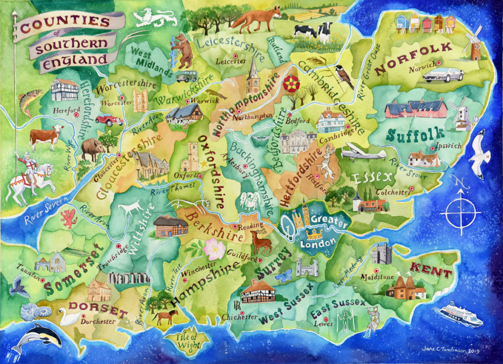 Counties of Southern England map - watercolour by Jane Tomlinson (c) 2019