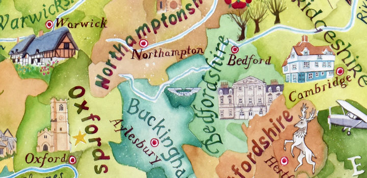 Counties of southern England – a hand-painted map