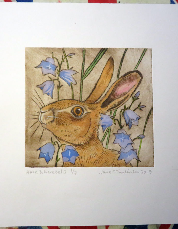 hare and harebells drypoint