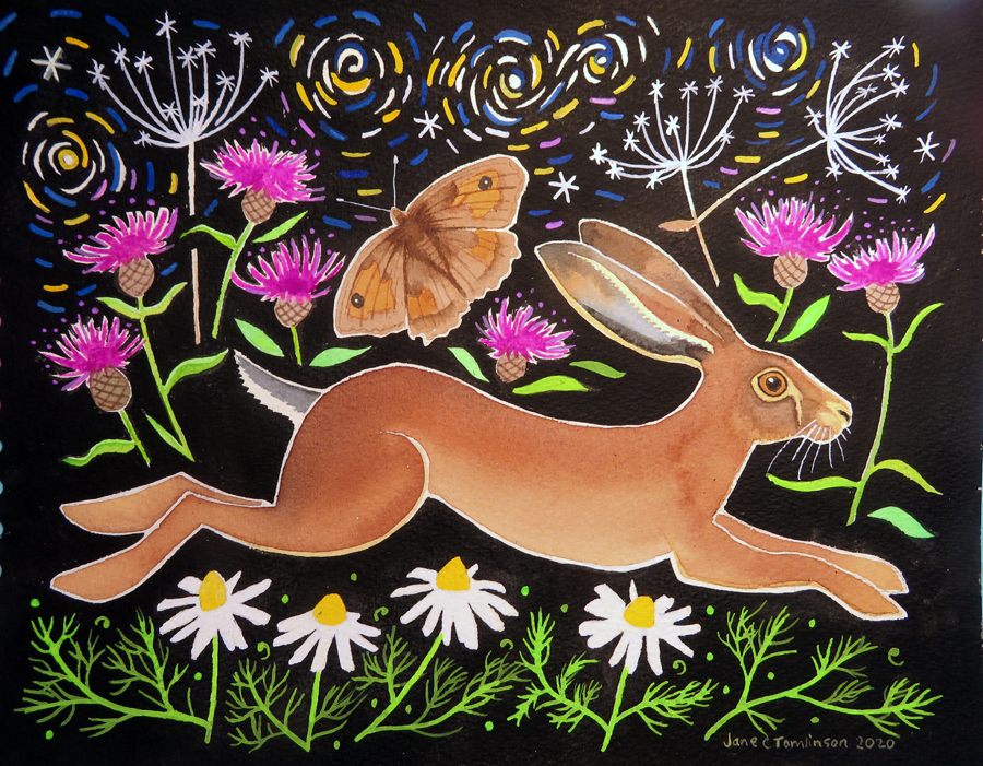 Hare and chamomile painting