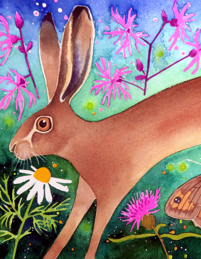 Hare and wildflowers painting