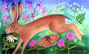 Brown hare and wildflowers painting