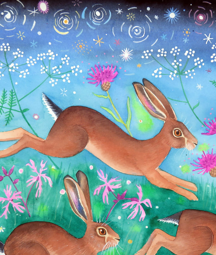 Meadow brown hares - painting detail