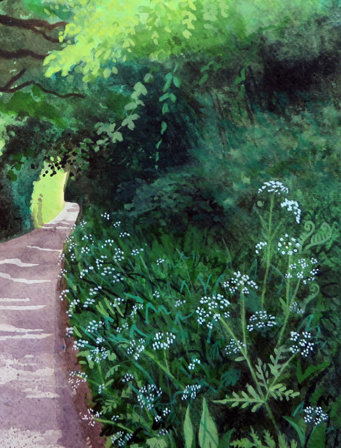 Detail of cow parsley on the painting Kissing trees on Pigeon House Lane