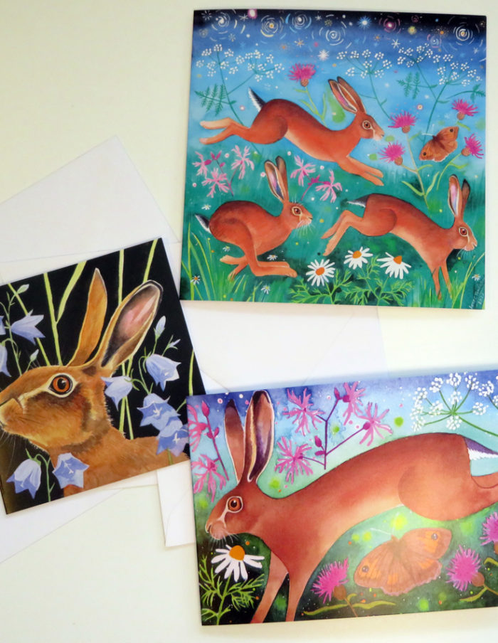 Brown hares greetings cards