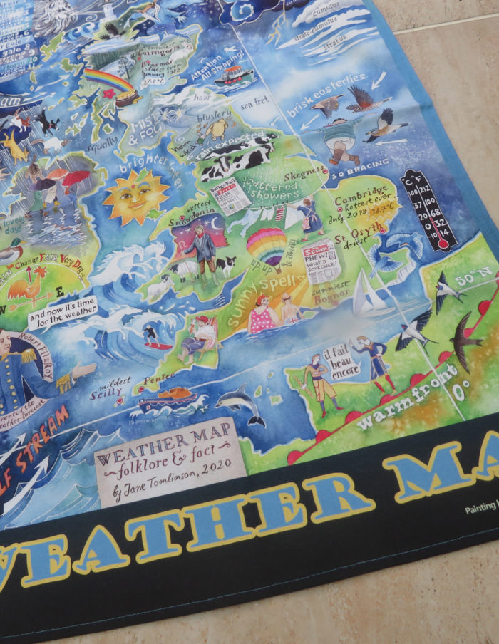 weather map tea towel