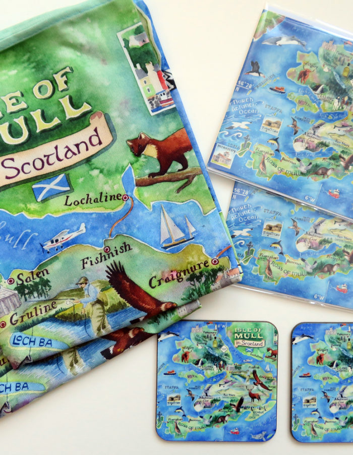 Map of Mull tea towels, coasters and greetings cards