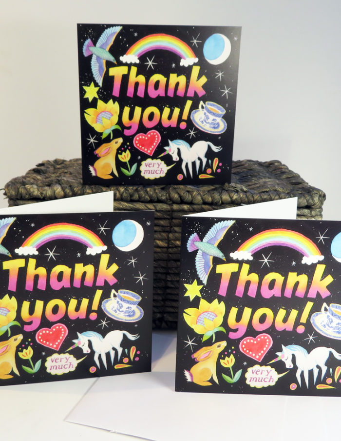 thank you greetings card with funky bright colours