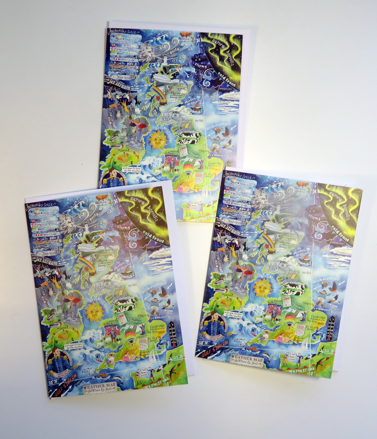 weather map greetings cards