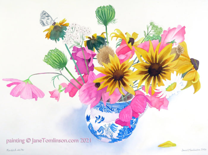 Painting of a willow pattern jug with flowers and marbled white butterfly
