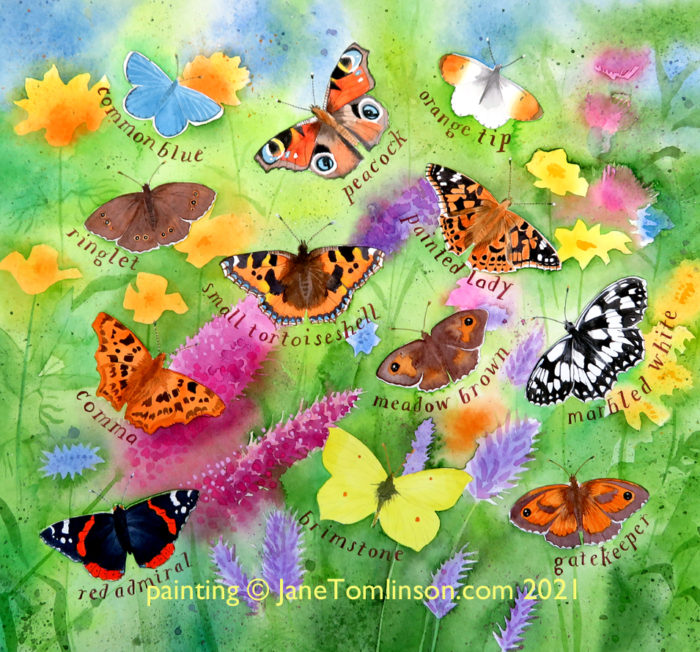 a painting of butterflies in the garden