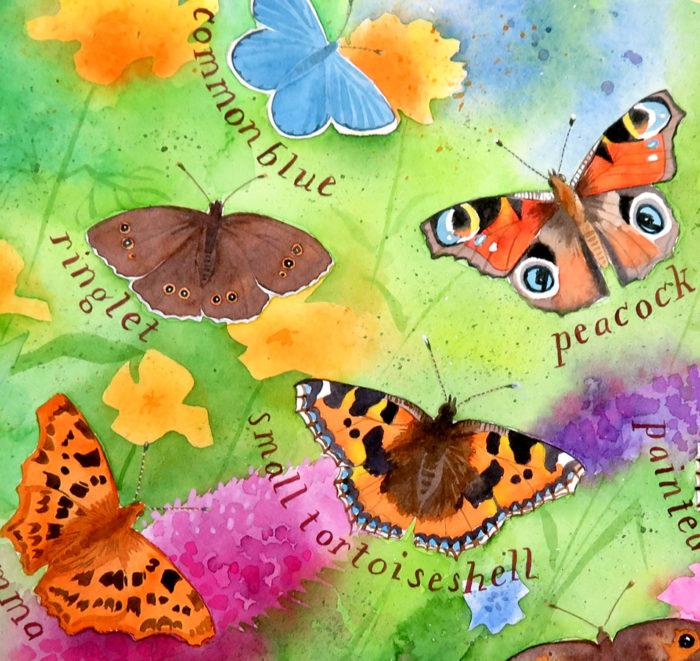 butterflies in the garden painting